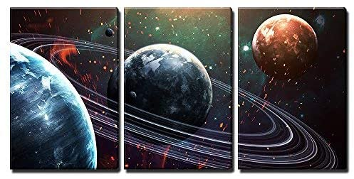 wall26 - 3 Piece Canvas Wall Art - Universe Scene with Planets, Stars and Galaxies in Outer Space - Modern Home Art Stretched and Framed Ready to Hang - 16x24x3 Panels