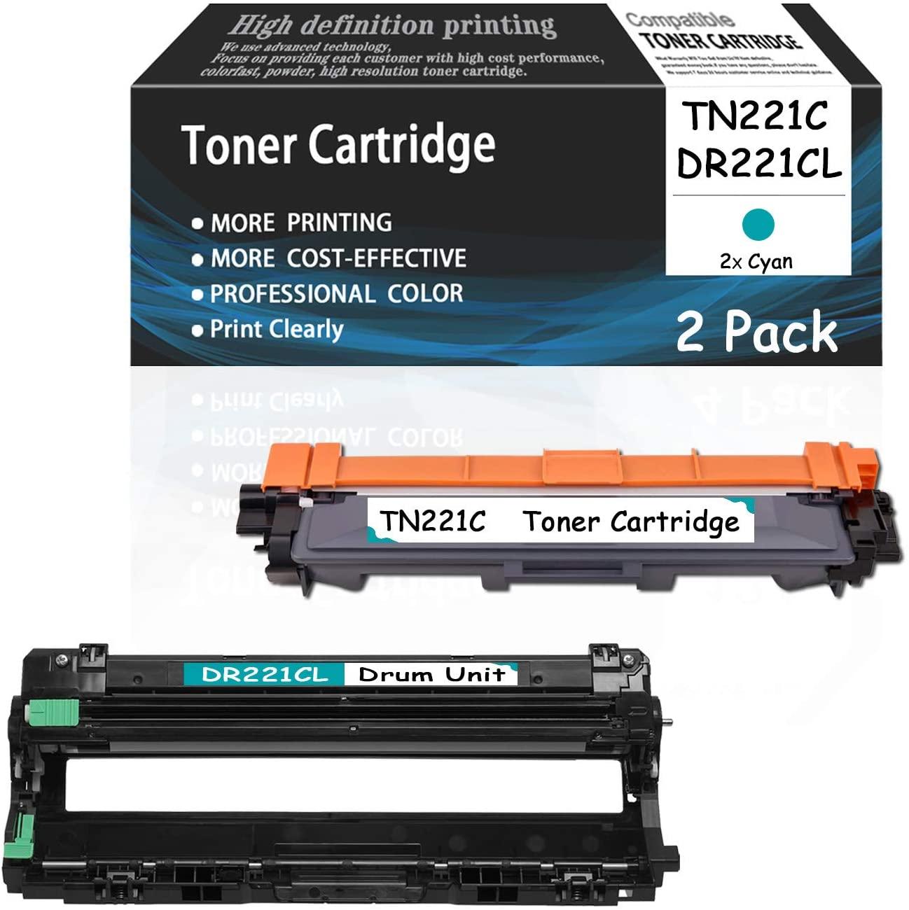 (2 Pack,Cyan) DR221CL Drum Unitand TN221C Toner Cartridge CompatibleforBrother HL-3140CW 3150CDN 3170CDW MFC-9130CW 9140CDN 9330CDW 9340CDW DCP-9015CDW Printers,Sold by AcToner.