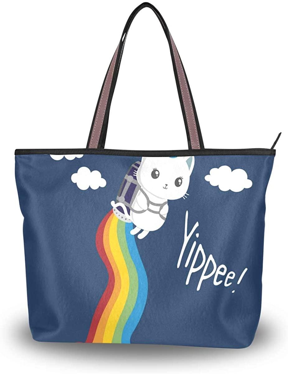 Woman Tote Bag Rainbow Unicorn Cat Shoulder Handbag for Work Travel Business Beach Shopping School