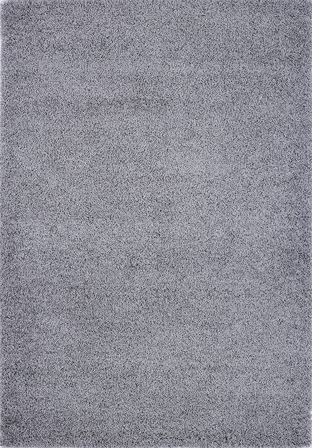 Pierre Cardin Luxury Shag/Flokati Collection Trellis Rug Design Abstract Area Rugs for Living Room Carpets (5' x 8', Gray)