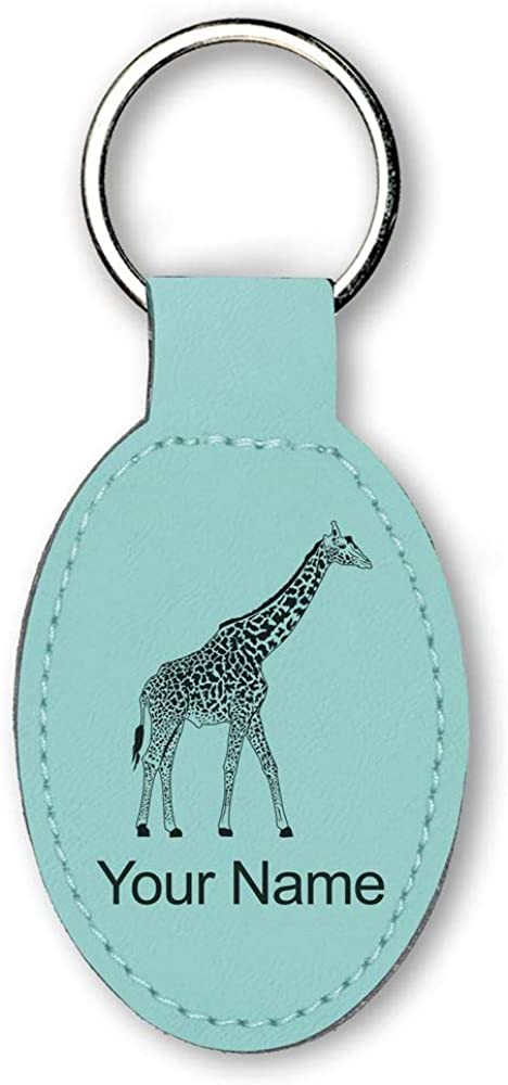 Faux Leather Oval Keychain, Giraffe, Personalized Engraving Included