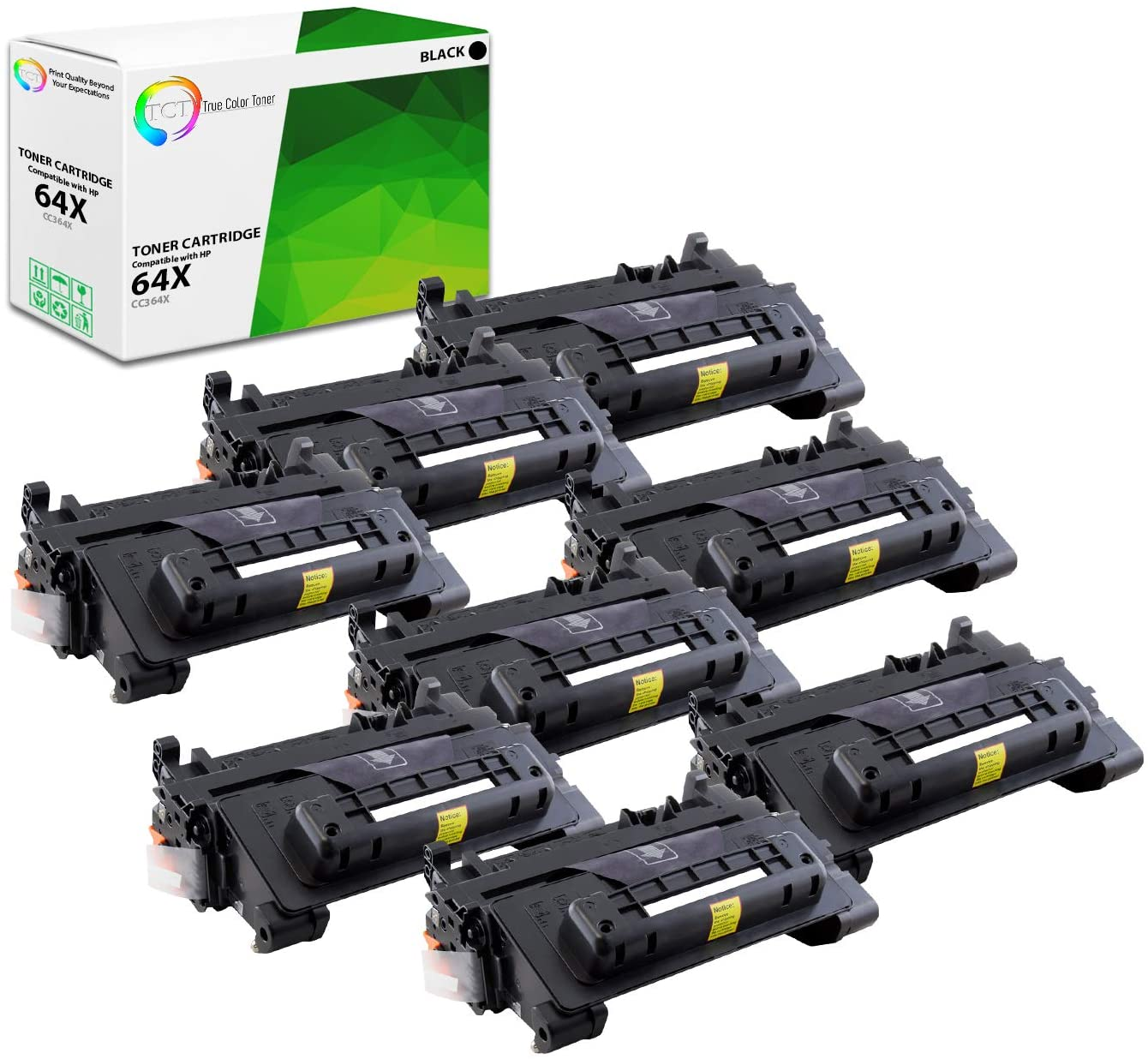 TCT Premium Compatible Toner Cartridge Replacement for HP 64X CC364X Black High Yield Works with HP Laserjet P4014 P4015N P4015X P4515N P4515X Printers (24,000 Pages) - 8 Pack