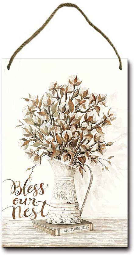 Topoose Bless Our Nest Cotton Bouquet Wood Sign for House - Funny Door Sign, Farmhouse Decor for House Door Office Business Metal Vintage Sign