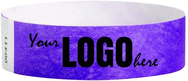 Custom 3/4 inch Tyvek Wristbands for Events - Image or Logo Personalized (Paper-Like) Bracelets - Purple - 2000 Count