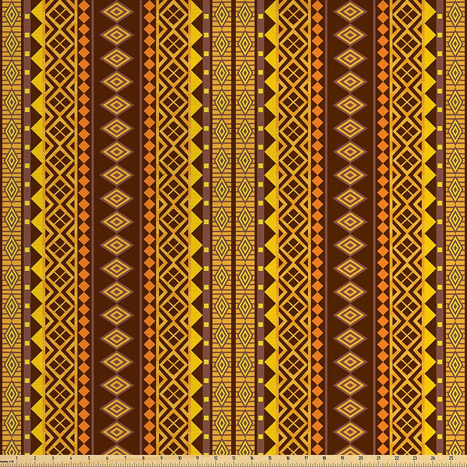Lunarable Yellow and Brown Fabric by The Yard, Folk Hippie Motifs Triangles Geometric Print, Decorative Fabric for Upholstery and Home Accents, Marigold Chestnut Brown