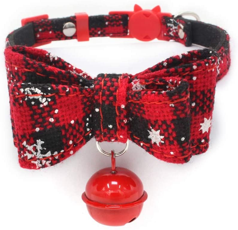 Tinaa Cat Collar Breakaway with Bell Double Layer Bowknots Adjustable Kitten Collars for Pet Cat Dog