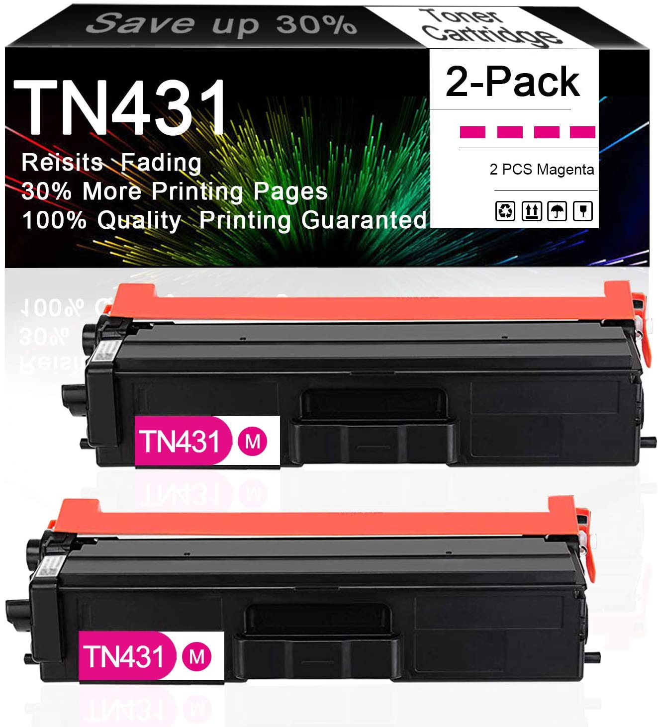 Compatible 2-Pack (Magenta) TN431 TN431M TN-431 Toner Cartridge Replacement for Brother HL-L8260CDW HL-L9310CDW MFC-L8610CDW MFC-L8690CDW DCP-L8410CDW Printer, Sold by CuToner.