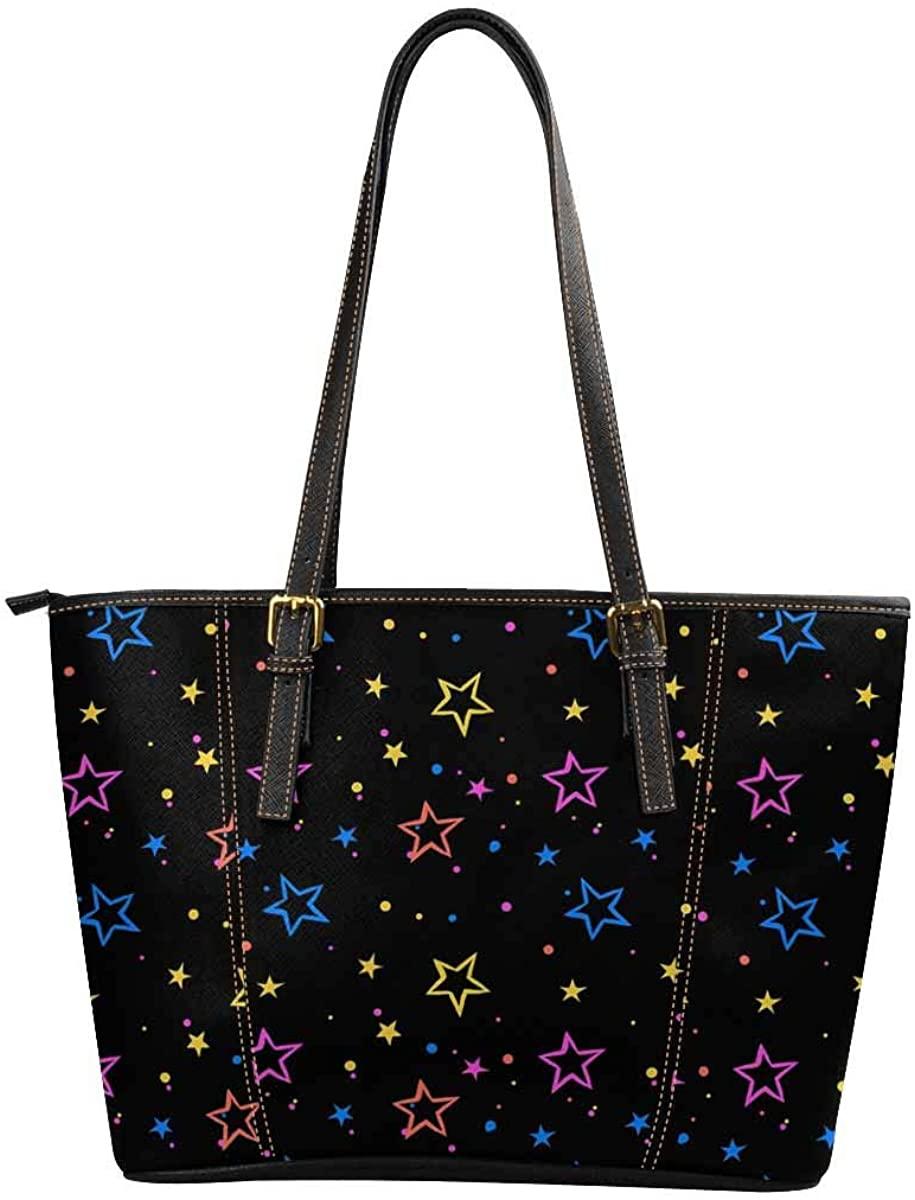 InterestPrint Women Tote Bags Top Handle Handbags PU Leather Purse