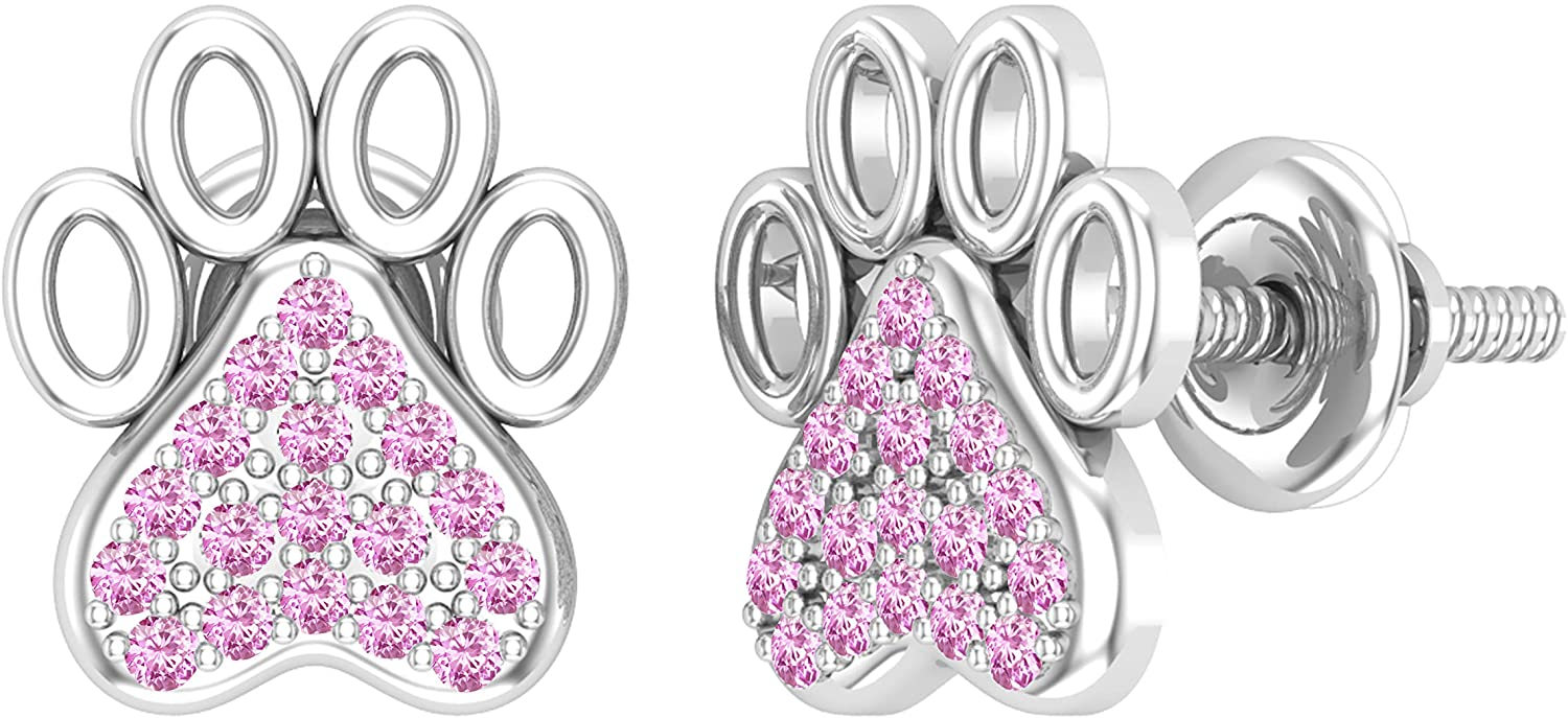 Dazzlingrock Collection Round Gemstone Ladies Heart & Paw Print Fashion Stud Earrings, Available In 10K/14K/18K Gold & 925 Sterling Silver