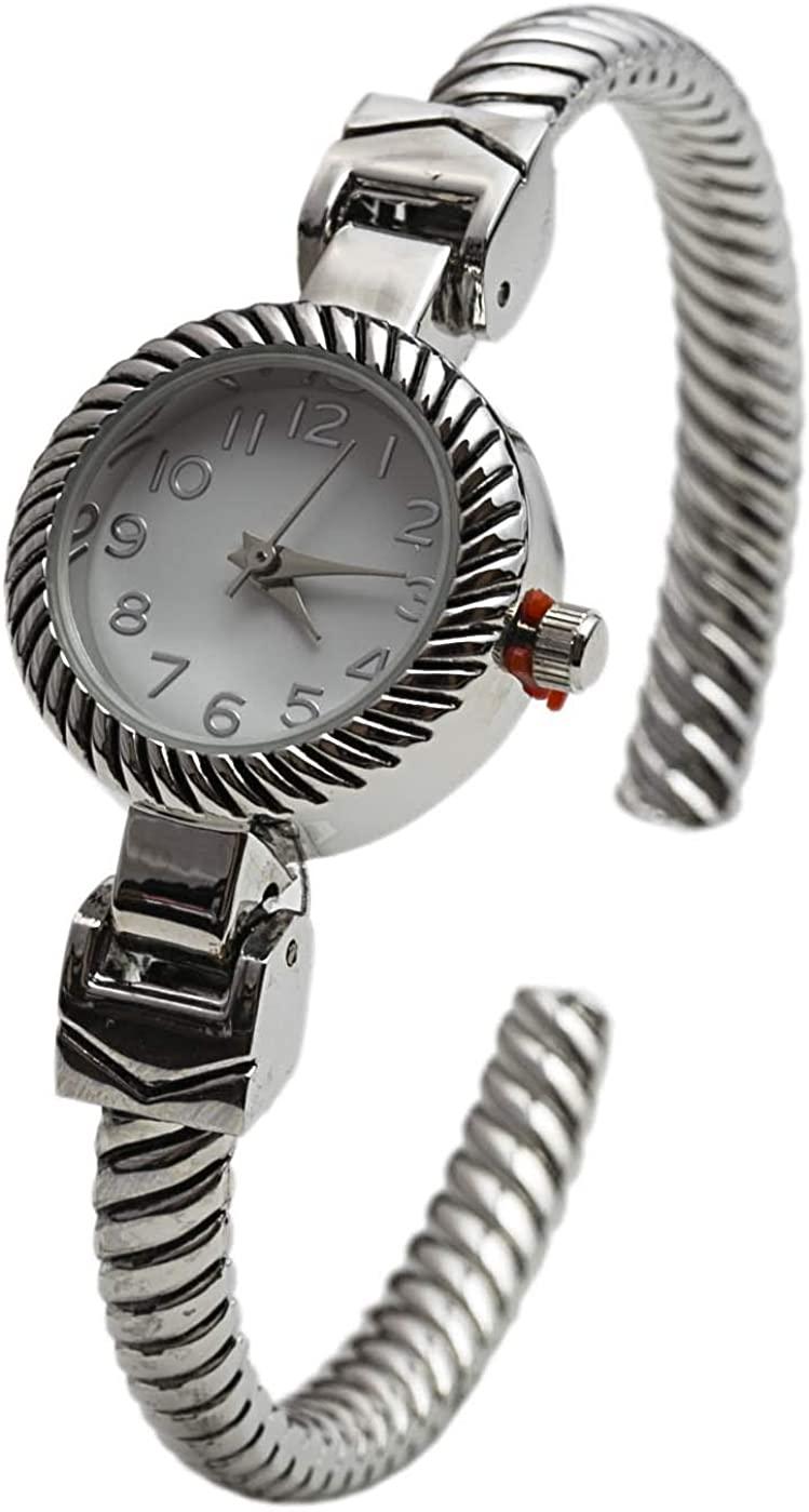 Blekon Collections Analog Quartz Women's 22mm Case Thin Striped Cuff Bangle Watch