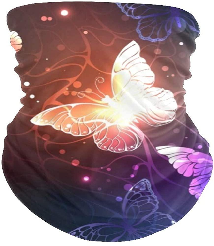 Balaclava Face Mask Neck Gaiter Glitter Night Glowing Butterflies Bandanas for Out Doors, Festival,Sport