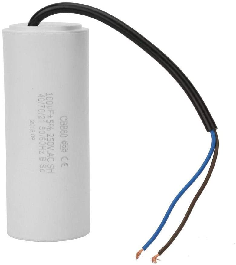 wosume Capacitor, CBB60 Run Capacitor with Wire Lead 250V AC 100uF 50/60Hz for Motor Air Compressor