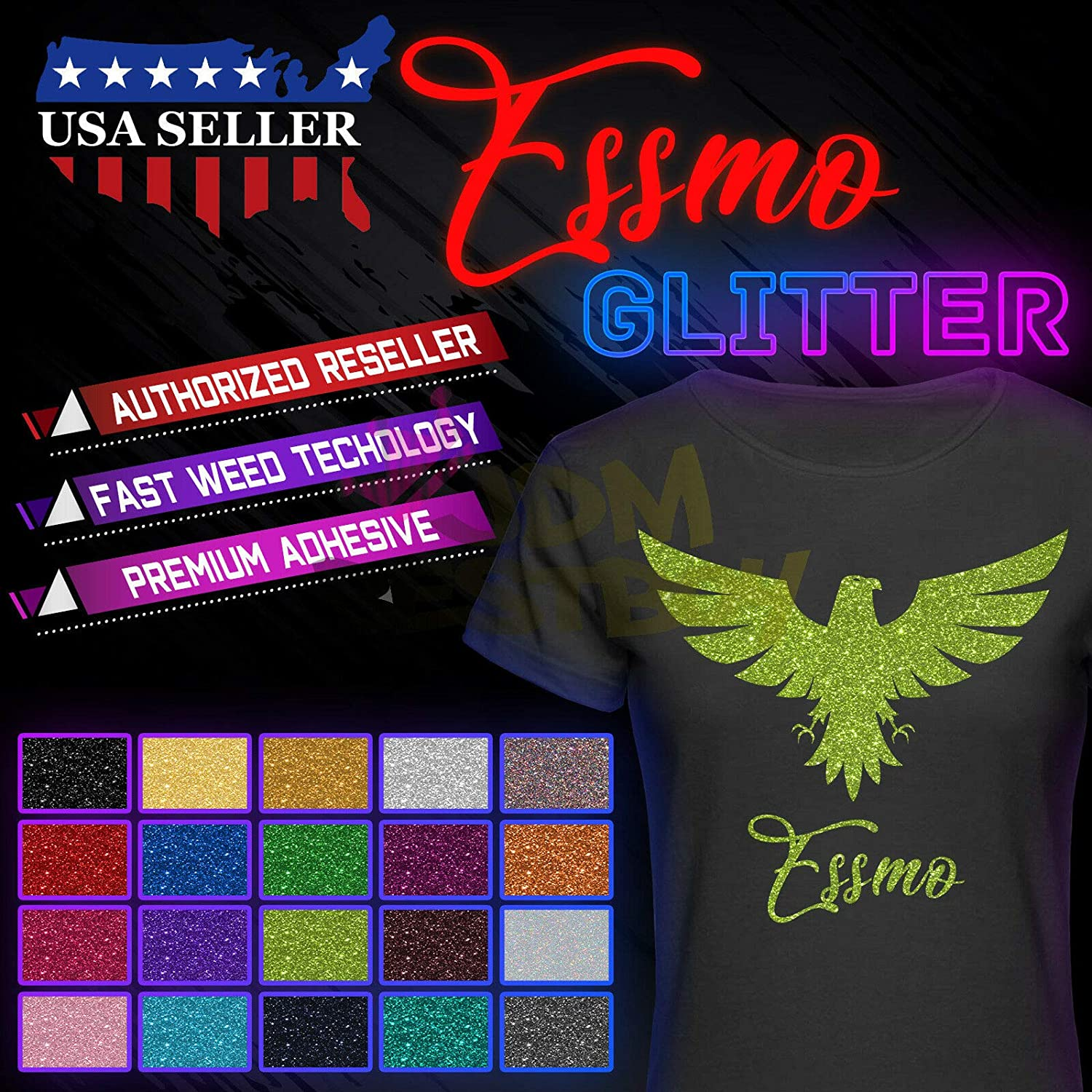 ESSMO Black Glitter Heat Transfer Vinyl HTV Sheet T-Shirt 20