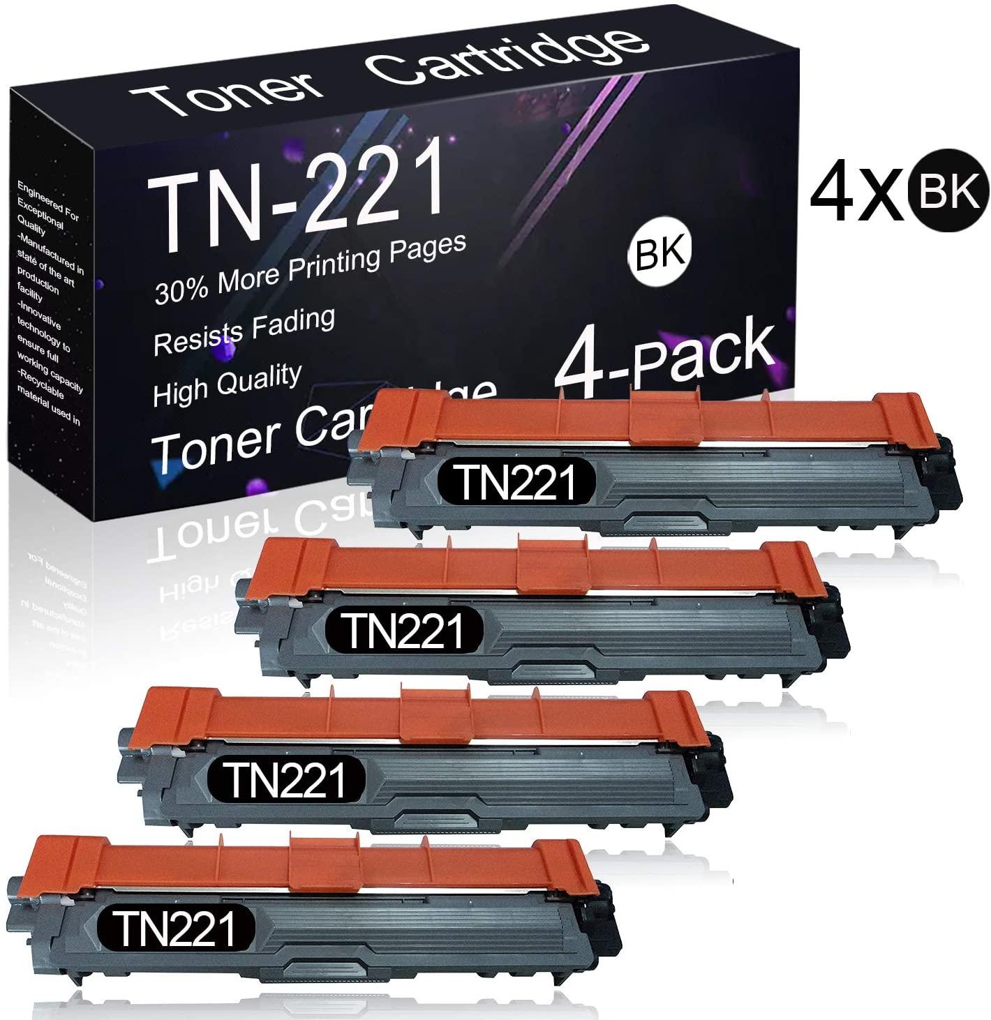 4 Pack TN221 Black Compatible Toner Cartridge Replacement for Brother HL-3140CW/ 3150CDN/ 3170CDW/ 3180CDW, MFC-9130CW/ 9140CDN/ 9330CDW/ 9340CDW, DCP-9015CDW/ 9020CDN Printers.