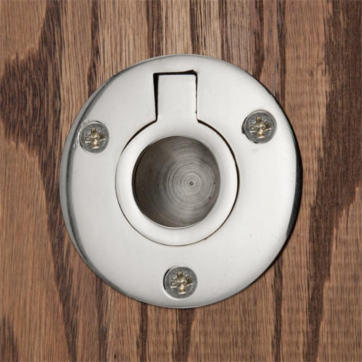 Naiture Large Round Recessed Ring Pull in Chrome Finish