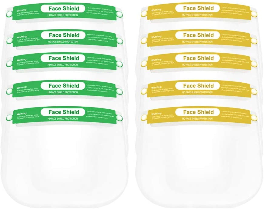 Child Shield Protector,Clear Protection for Kids, Reusable Kitchen Oil Splash Anti-smoke Protector (5 Green+5 Yellow)