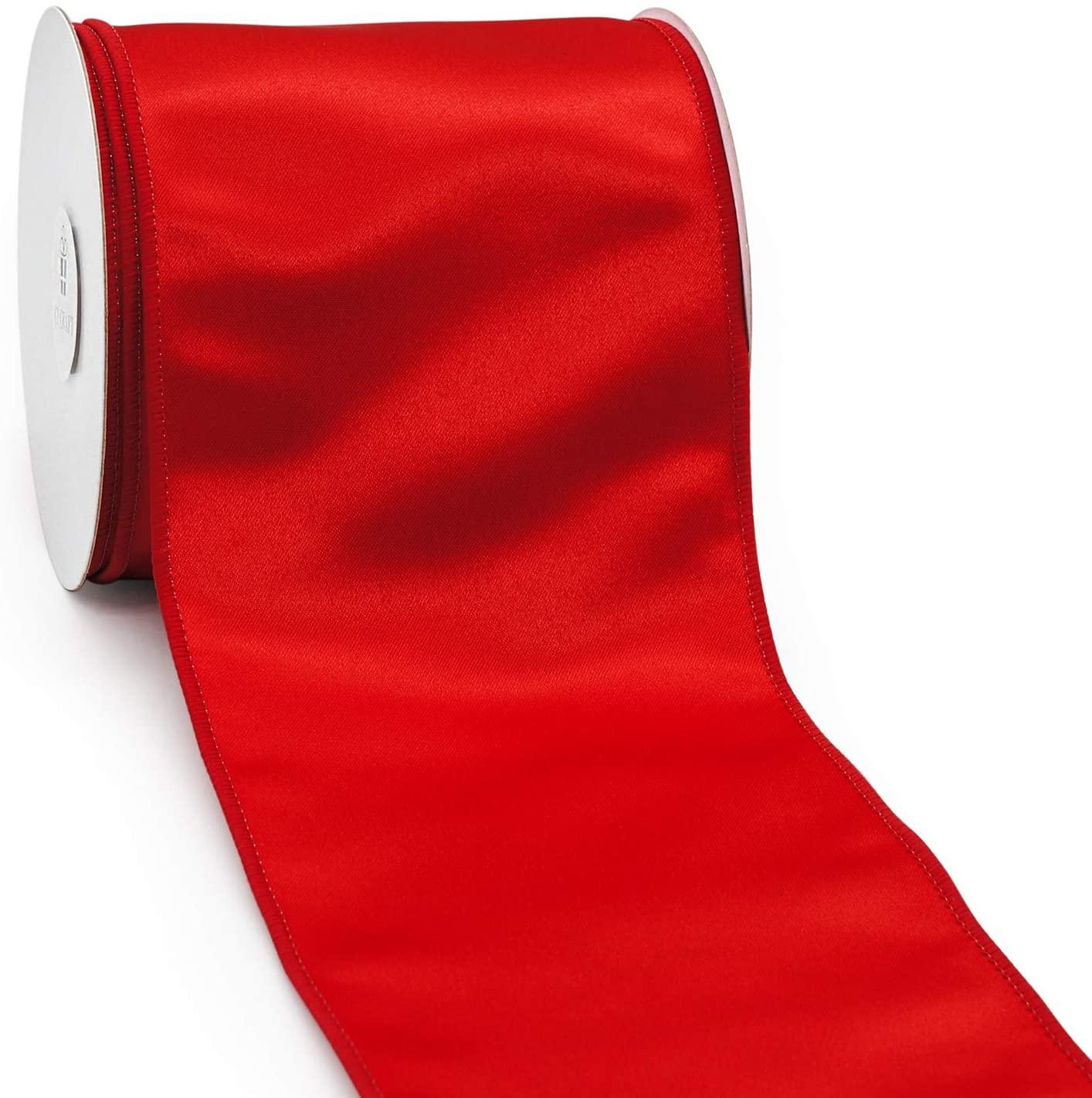 CT CRAFT LLC Satin Wired Ribbon - 4 Inch x 10 Yards - Red