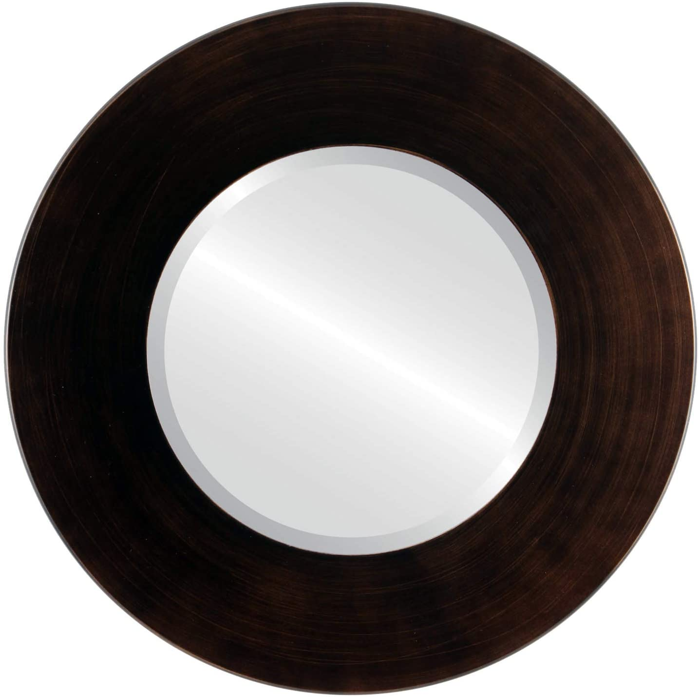 Round Beveled Wall Mirror for Home Decor - Boulevard Style - Rubbed Bronze - 26x26 Outside Dimensions