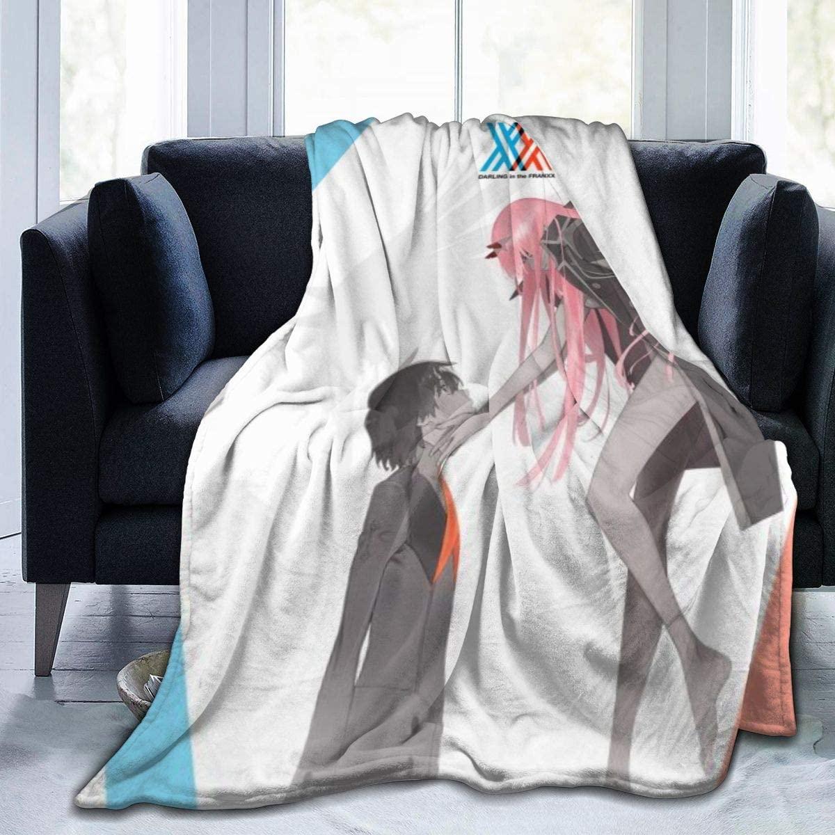 Ddsss Darling in The FRANXX Luxury Flannel Blanket Queen Size Velvet Plush Throw Microfiber Blanket All Season 60x50 Inch