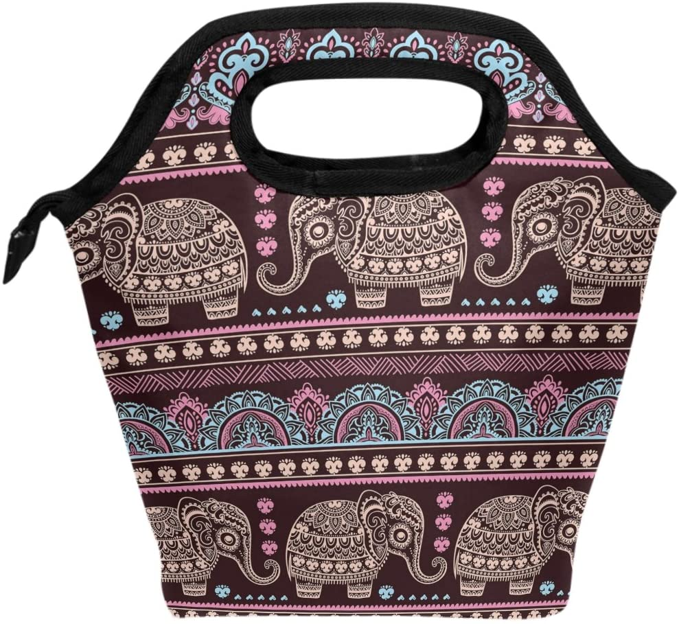 WOZO Tribal African Indian Elephant Insulated Lunch Bag Tote Bag Cooler Lunchbox Handbag for Outdoors School Girl Boy