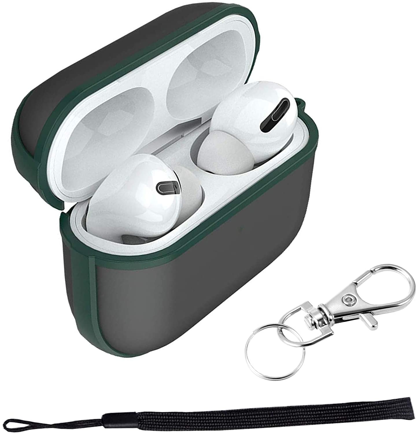 Clear Case Compatible for EarPods Pro, AirPods Pro Transparent Case, Apple Headphone AirPods Pro Case with Keychain Anti Lost Wrist Strap (Green Frame)