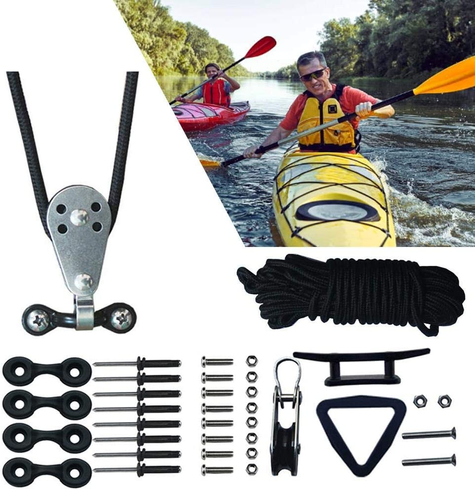 Lamptti Kayak Canoes Anchor Trolley Kit, Kayak Hardware Accessories with Pulleys Pad Eye Cleats Ring 30 Feet Rope Kayak Accessories for Canoes Boats