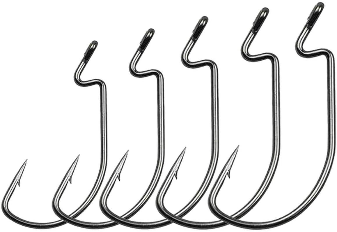 Beoccudo Fishig Hooks Wide Gap Soft Plastic Worm Jig Hook for Freshwater Saltwater, 60pcs