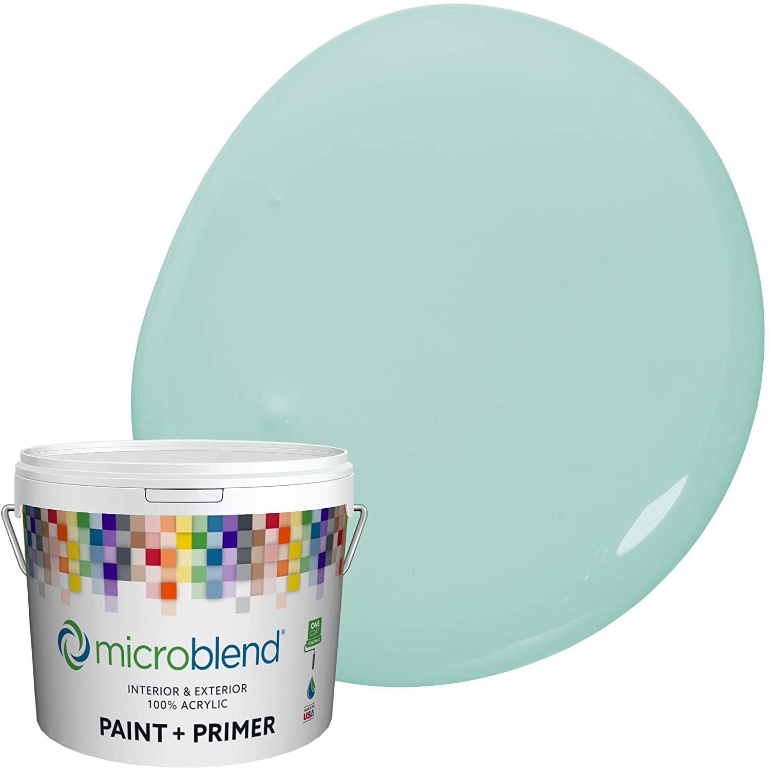 Microblend Interior Paint and Primer - Turquoise/Misty Teal, Flat Sheen, 1-Gallon, Premium Quality, One Coat Hide, Low VOC, Washable, Microblend Blues Family