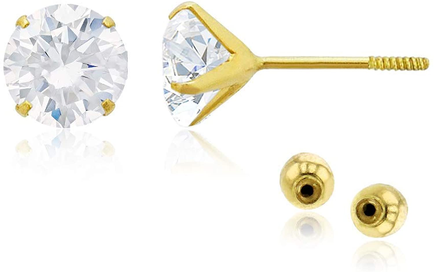 Solid 14k Yellow Gold Hypoallergenic Round Heart Square CZ Cubic Zirconia Solitaire Stud Earrings For girls With Secure Ball Screw Backs For Women, 3mm-7mm