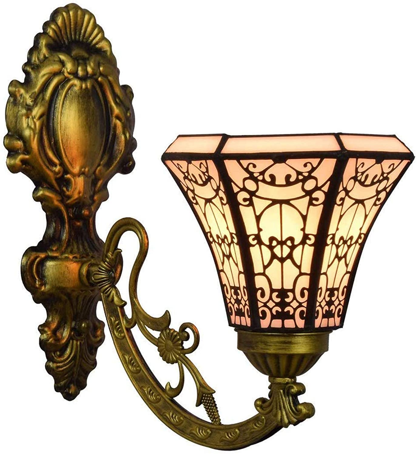 DSFHKUYB Wall Lamp Stained Glass Retro Glazed Wall Lamp Bedside Lamp Aisle Lights