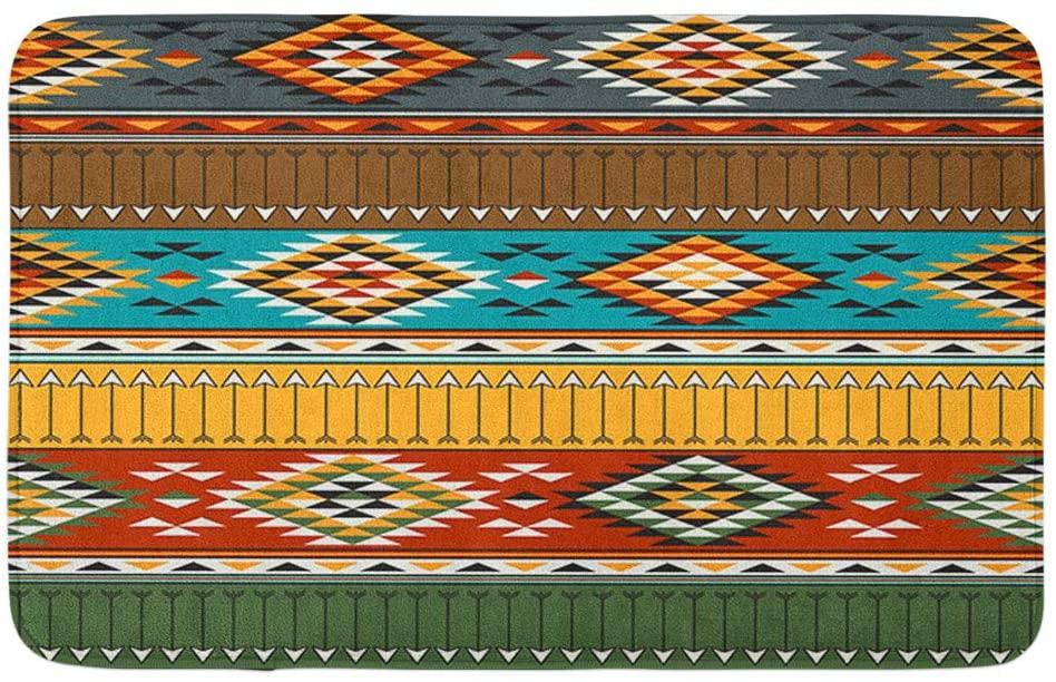 Adowyee Bath Mat Ethnic Tribal Multicolor American Indian Abstract America Arrow Beauty Cozy Bathroom Decor Bath Rug with Non Slip Backing 20