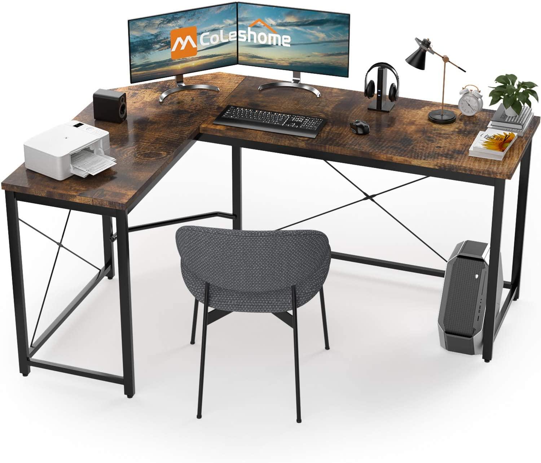 L Shaped Desk Corner Computer Desk Sturdy Computer Table Writing Desk Gaming Desk Workstation, Vintage