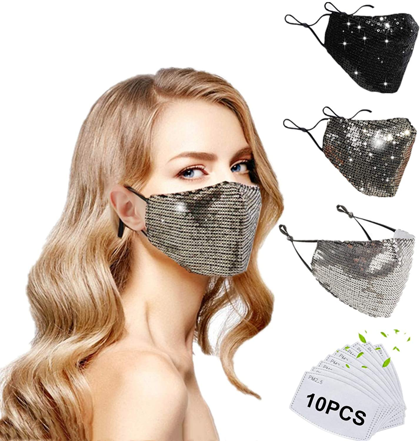 Denifeiya 3Pack Fashion Sequin Mask Breathable Washable Adjustable Masks for Women with10 PCS Filters