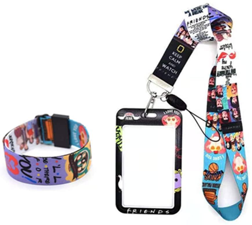 FTSA Keychain Lanyard Friends TV Show Merchandise Phone Lanyards Holder ID Badge Lanyards Christmas Wristlet Card Holder Gift for Friends Fans Neck+Wristlet