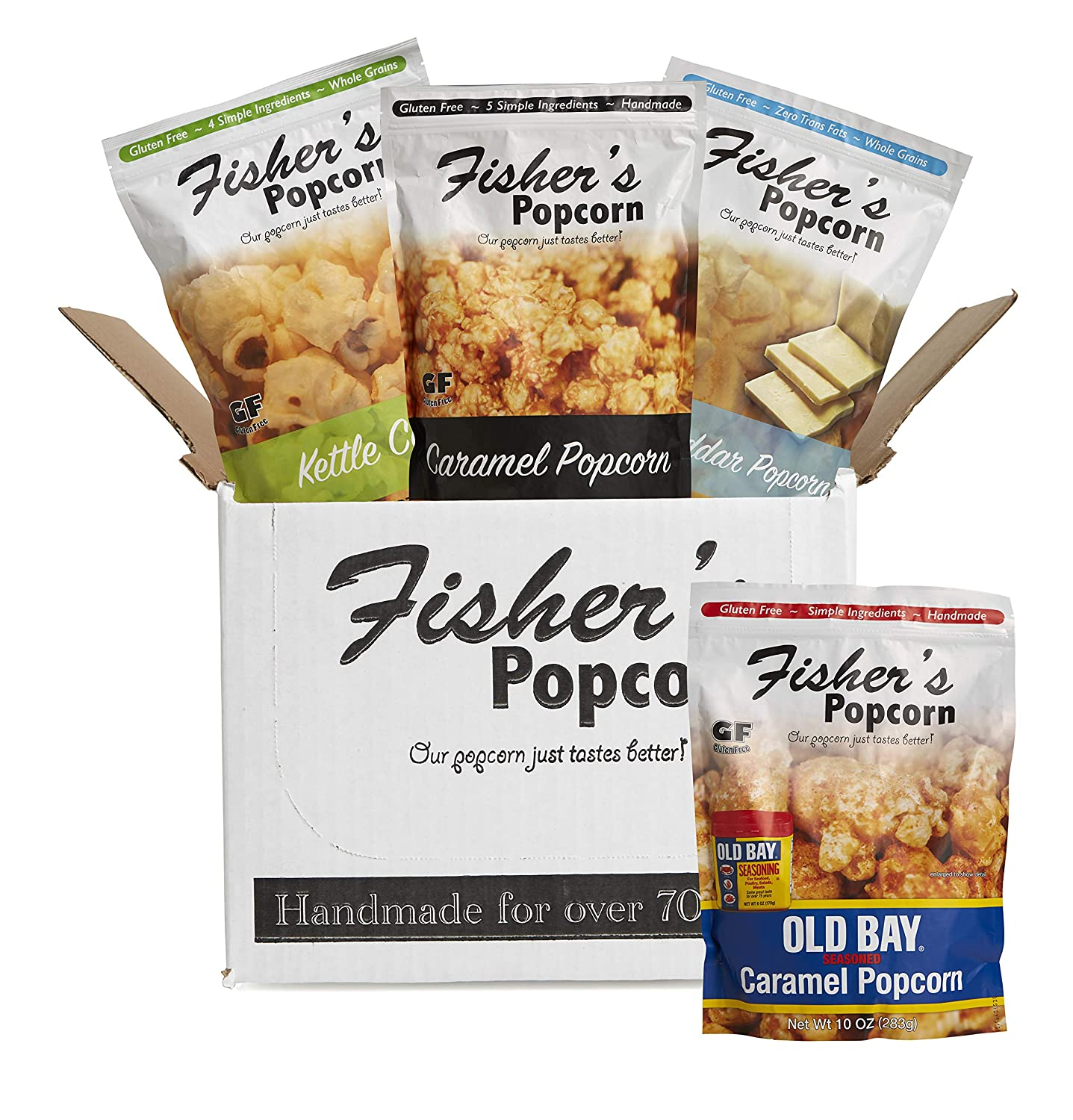 Fisher's Popcorn 4 Bag Flavor Variety Pack, Gluten Free, Simple Ingredients, Zero Trans Fat, 3oz-10oz Bags (Pack of 4)