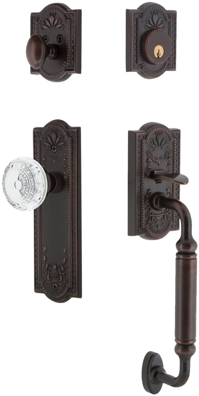 Nostalgic Warehouse 755837 Plate C Grip Entry Set Crystal Meadows Knob, 2.75 Backset, Timeless Bronze