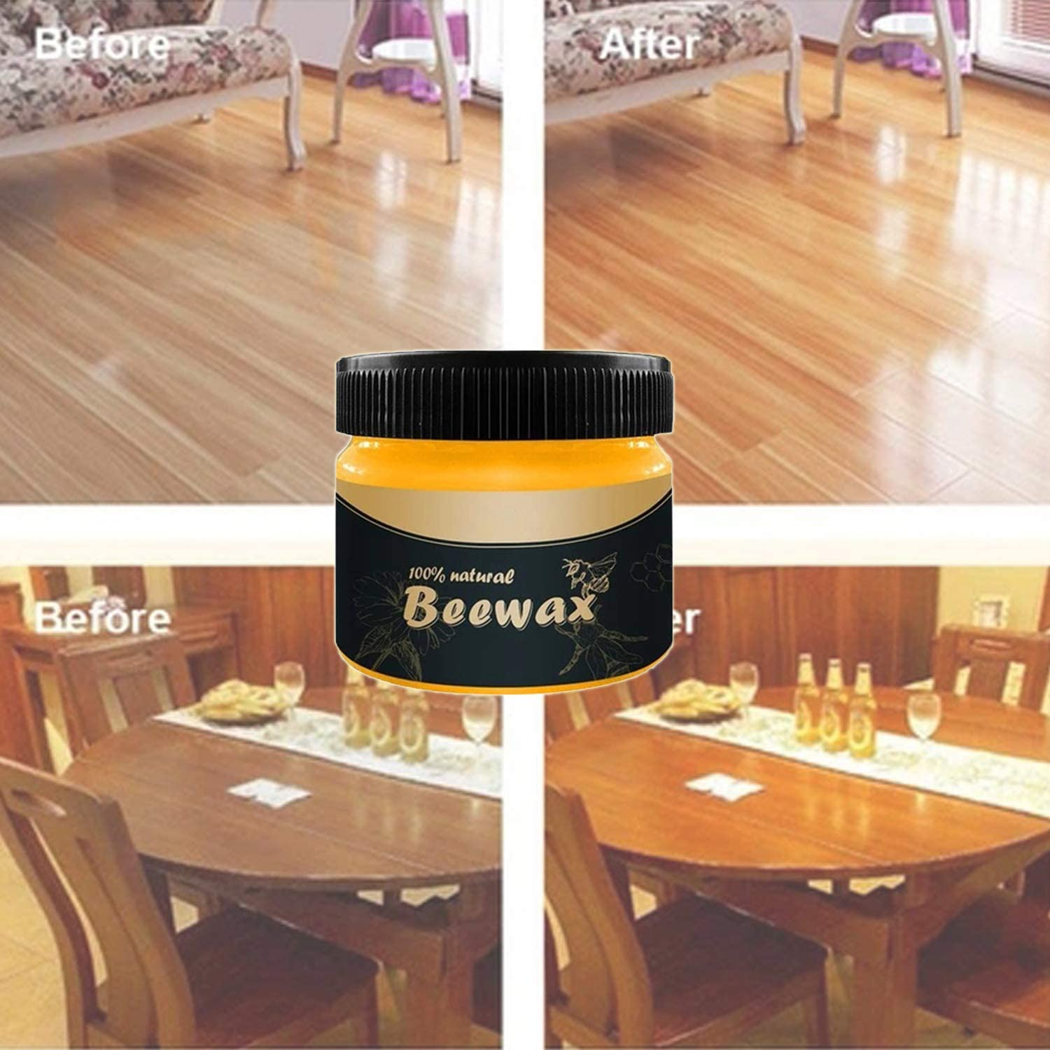 Wood Seasoning Beewax, Natural Furniture Care Polish,MultiPurpose Beewax for Wood Cleaner and Polish Wipes Beewax (85g)