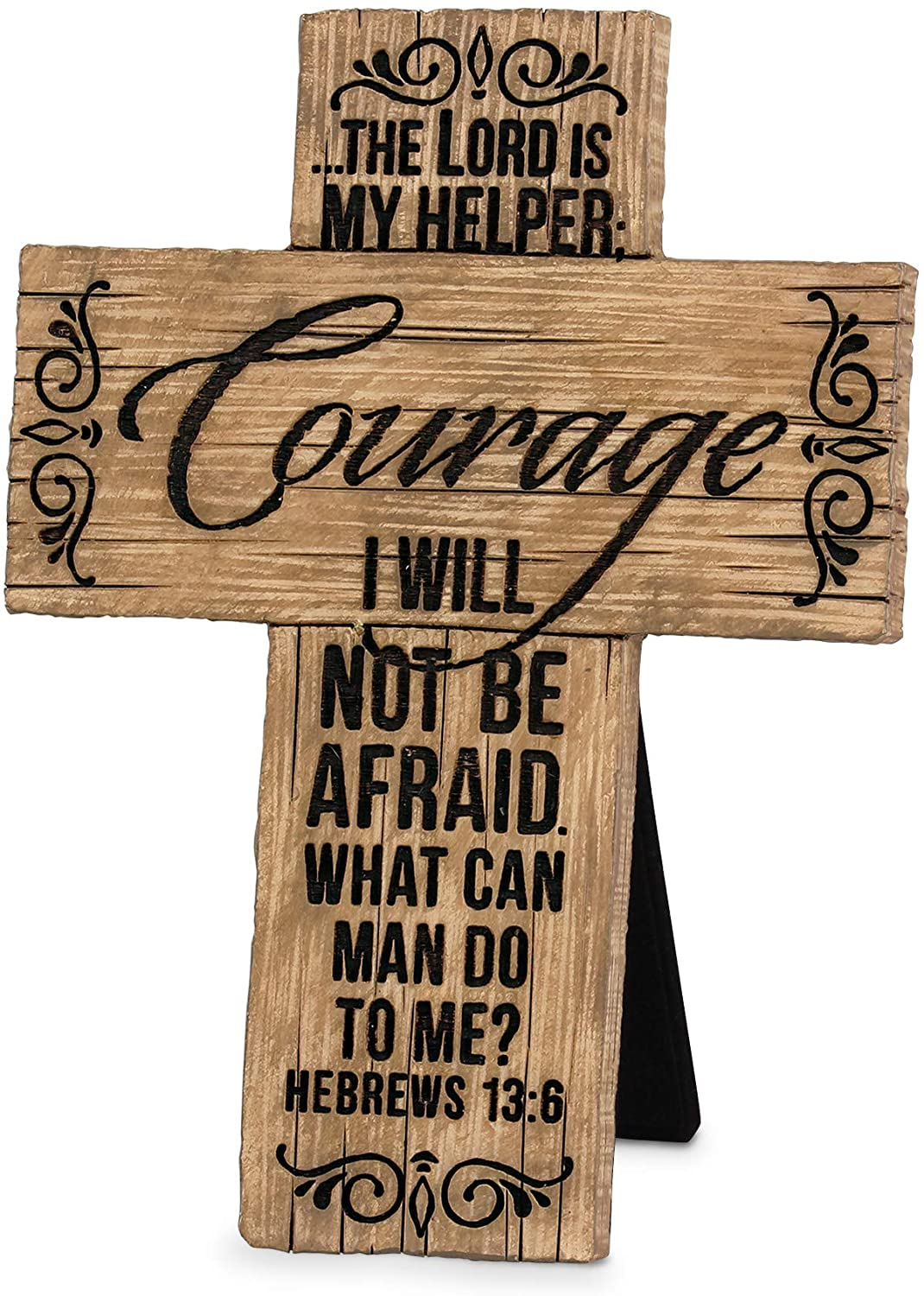 Lighthouse Christian Products Courage in The Lord Cypress Pine 6 Inch Cast Stone Cross Figurine