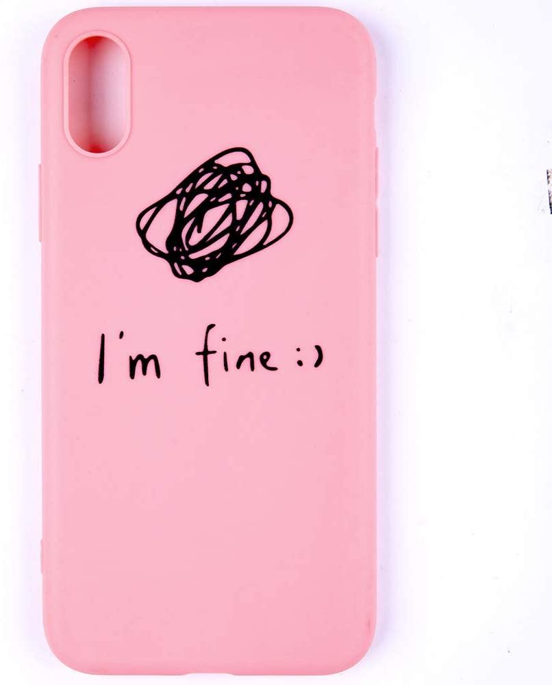 LuGeKe Pink Phone Case for iPhoneXR,Words Patterned I'm fine Design Case Cover,Soft TPU Cover Flexible Ultra Slim Anti-Stratch Bumper Protective Cute Girly Phonecase