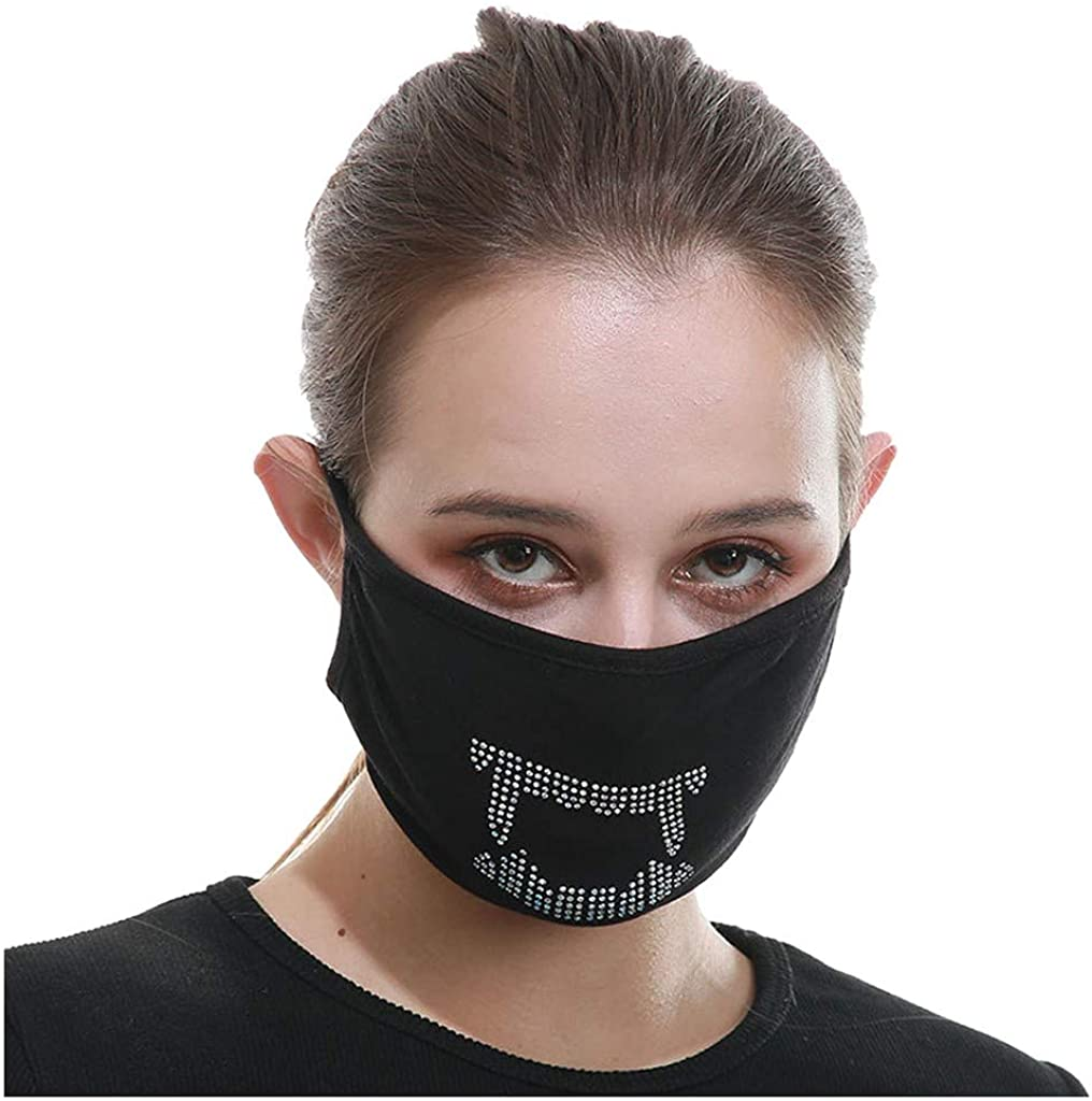 Adult Ice Silk Cotton Face_Mask Washable Reusable,Flash Diamond Face Scarf Balaclava Face Covering Dustproof for Women