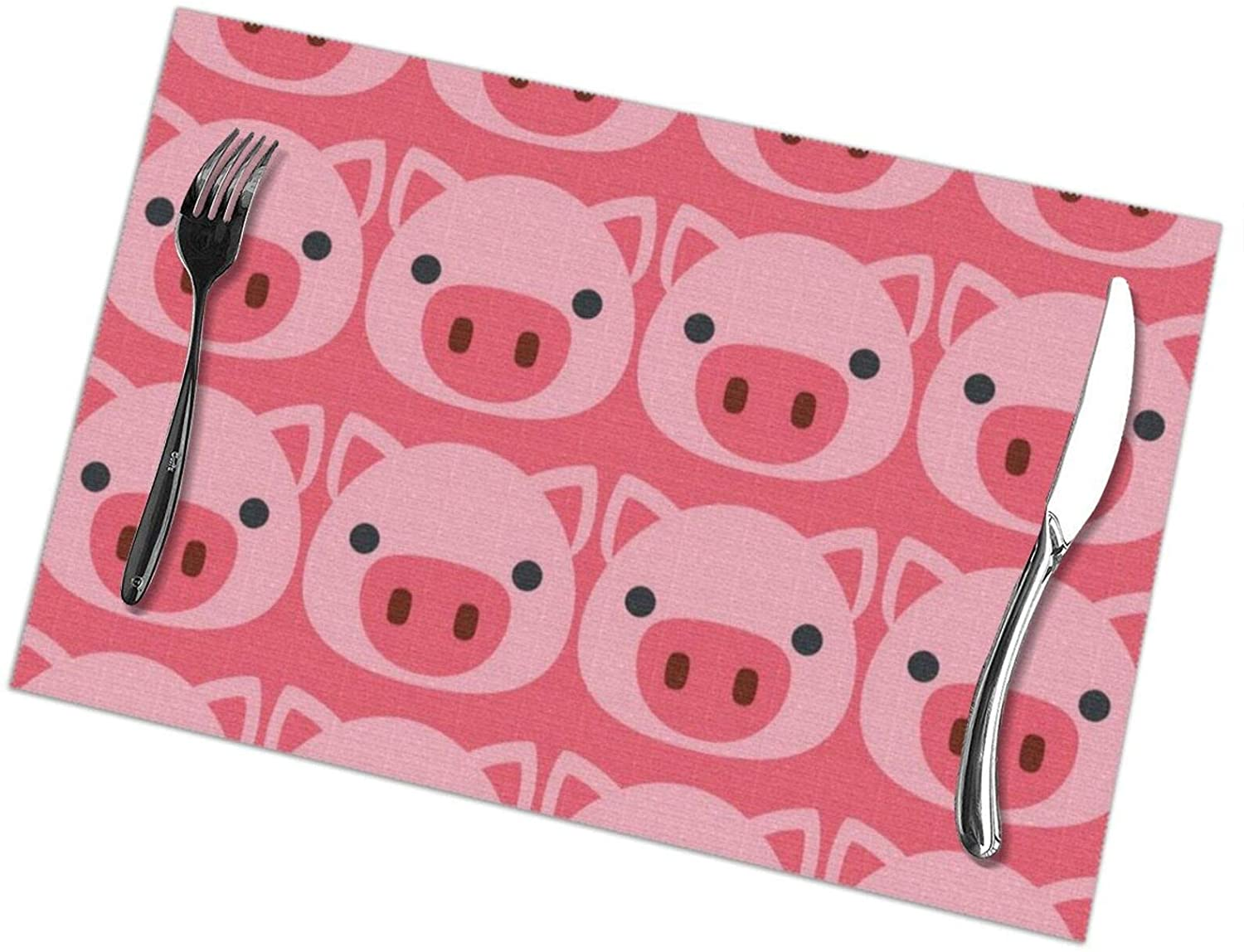 NiYoung Dinner Table Mats Set of 6 Placemats Washable Woven Heat Resistant Easy to Clean Non-Slip Placemats - Cute Pig Face Vintage