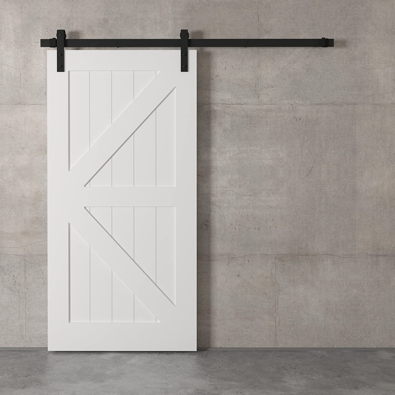 "Farmhouse Woodcraft 83"" White Sliding Wood Panels Builder's Barn Door"