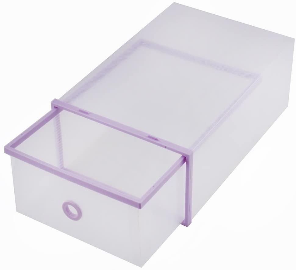 5 Pack Purple Shoes Storage Boxes, DIY Plastic Transparent Shoe Container, Foldable Stackable Closet Shelf Shoe Organizer for Home Use