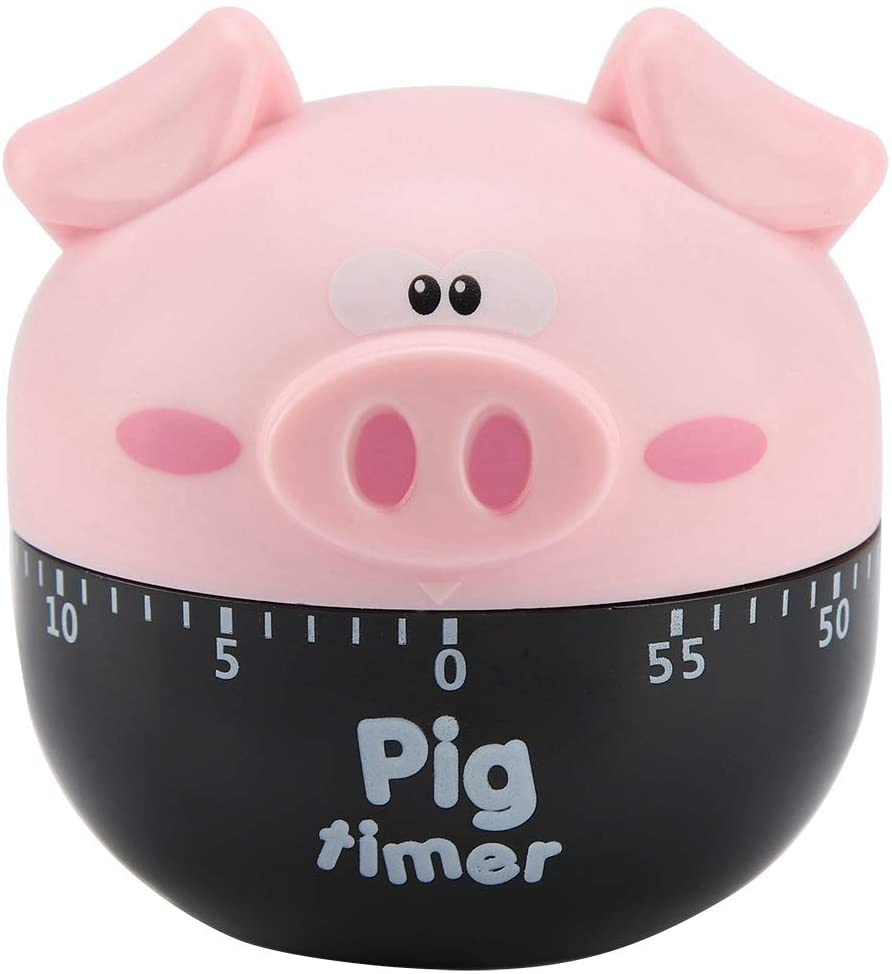 Kitchen Timer - Cute Cartoon Pig Kitchen Timer Mechanical Timers Counters for Cooking Timing Tool(2 Colors)(Pink)