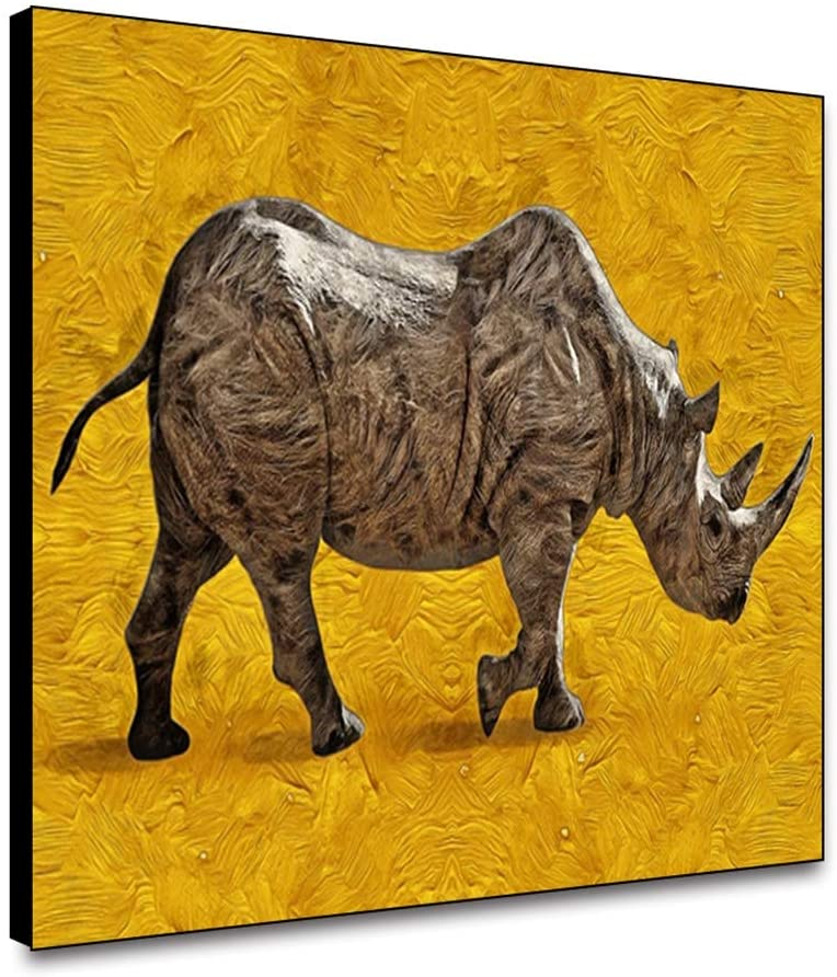 ARRMT Framed Canvas Wall Art Rhino On Retro Yellow Background Art Prints Wall Decor Poster for Living Room Bedroom Bathroom Artwork Decoration for Home Decoration 24x18inch Ready to Hanging