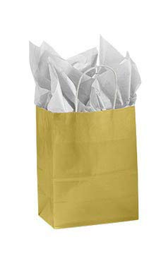 Medium Gold Glossy Paper Shopper (25 Bags/Case) - STOR-92476