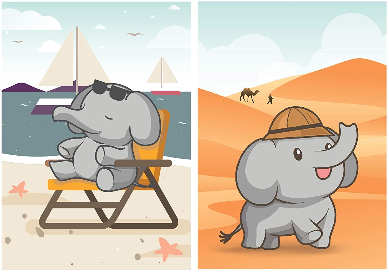 SCENE: YOURSELF Elephant Decor, Elephant Wall Decor, Elephant Nursery Decor, Elephant Bathroom Decor, 11.7 x 16.5, Unframed, Paper, Matte Lamination, Set of 2 Posters, Grey