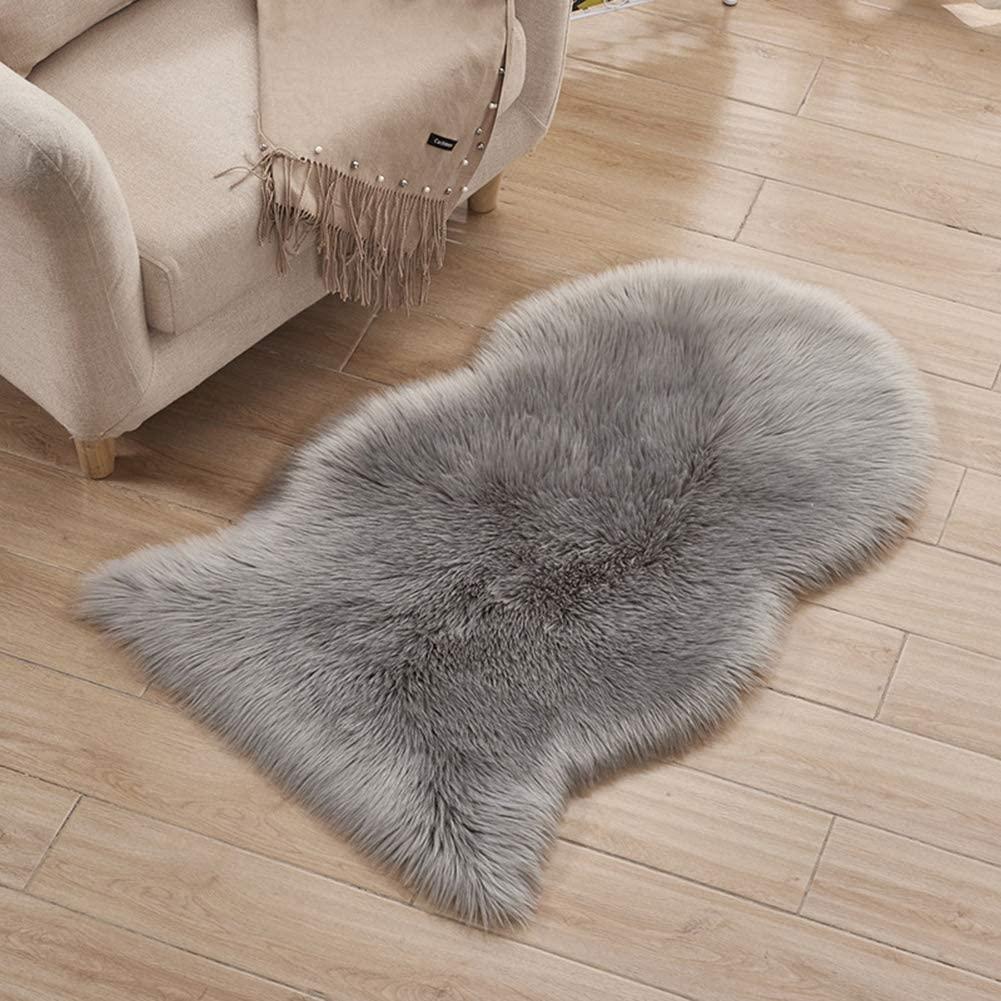 2x3 ft Faux Sheepskin Fur Area Rugs, Ultra Soft Fuzzy Rug Fluffy Chair Cover, Irregular-Shape Shaggy Floor Mat for Bedroom Kid Playroom(Grey)