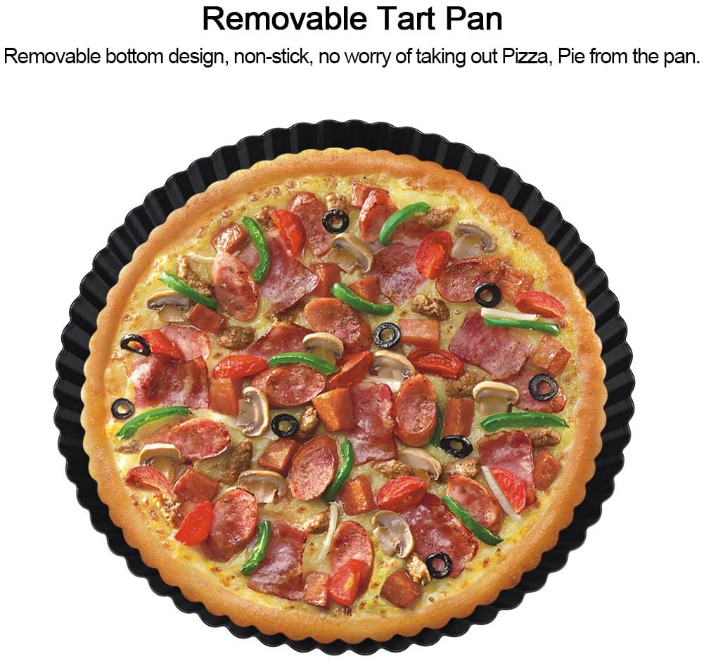 Baking Tool Removable Pizza Bakeware, High-carbon Steel Loose Bottom Pan, for Cakes Baking Pizza