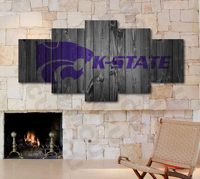 5 Piece American Football College University Teams Art Decor Wall Poster (5 Piece Large, Kansas State Wildcats)